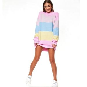 Misguided Ribbed ColorBlock Striped Jumper Dress 4